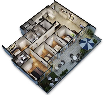 Bedroom House Floor Plan 3D On 3d 3 Bedroom House Floor Plans