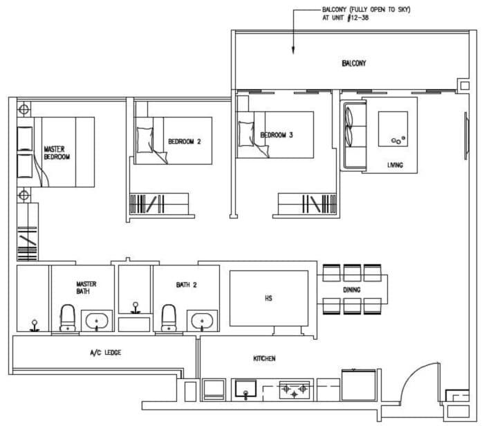 Forestville ec new launch floor plan 3 bedroom c7 for 100 sqm floor area house design