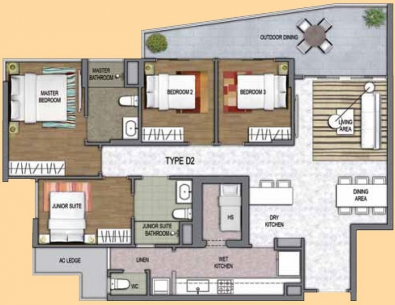 One canberra ec new launch 3d floor plan 4 bedroom for Condo plans free