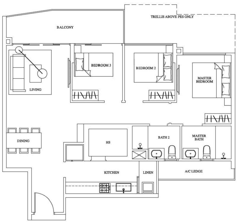 One Canberra Ec New Launch Floor Plan 3 Bedroom C9