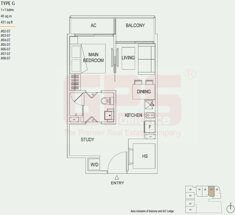 the octet u2013 floor plan u2013 type g 1 1 bedroom 431 sqft 40 sqm