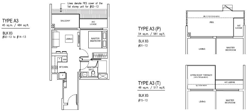Jewel at buangkok condo floor plan 1 bedroom a3 45 for 1 bedroom condo floor plans