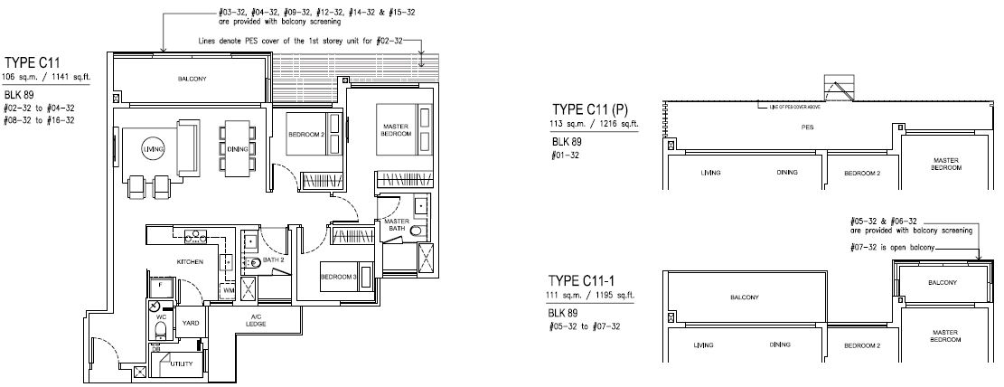 Jewel At Buangkok Condo Floor Plan 3 Bedroom Premium