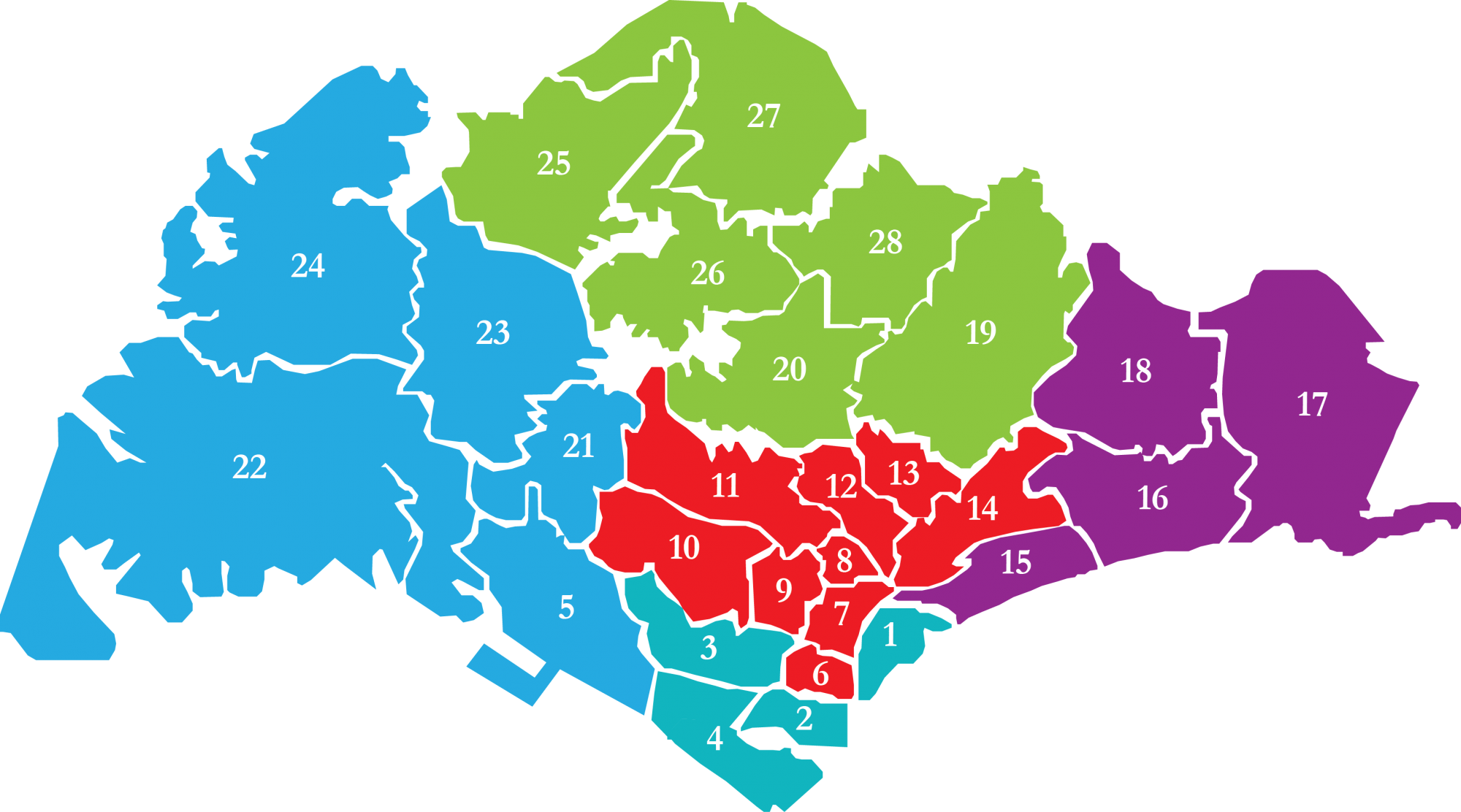 Map of Singapore Districts