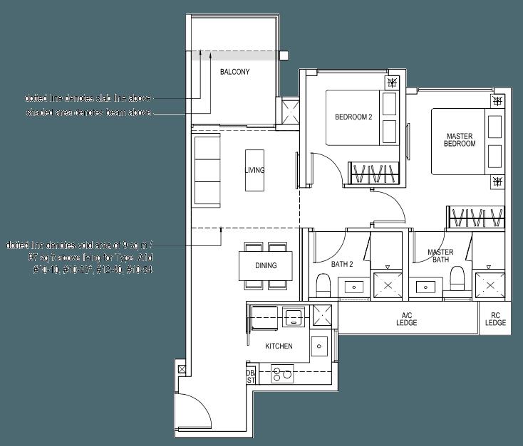 The Brownstone EC Floor Plan - 2 Bedroom A1a 70 sqm 753 sqft A1d 79 sqm 850 sqft