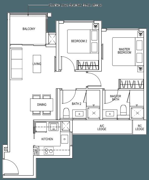 The Brownstone EC - 2 Bedroom A1b 68 sqm 732 sqft