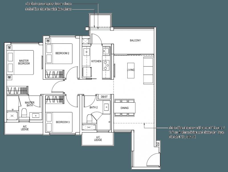 The Brownstone EC Floor Plan - 3 Bedroom B1a 89 sqm 958 sqft B1d 105 sqm 1130 sqft