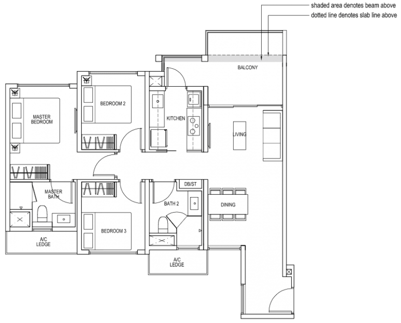 The Brownstone EC - 3 Bedroom B1b 91 sqm 980 sqft