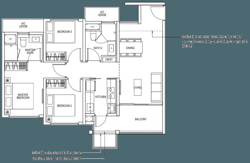 The Brownstone EC - 3 Bedroom B3a 86 sqm 926 sqft B3d 102 sqm 1098 sqft
