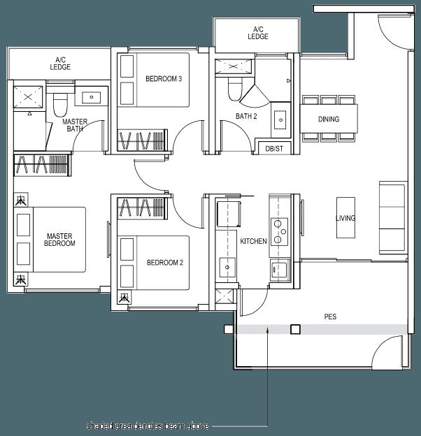 The Brownstone EC - 3 Bedroom B3p 89 sqm 958 sqft