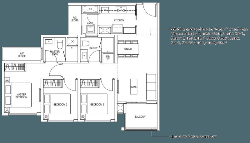 The Brownstone EC - 3 Bedroom B4a 82 sqm 883 sqft B4d 98 sqm 1055 sqft