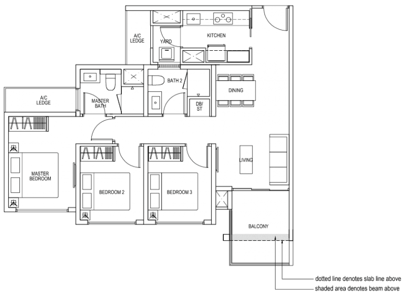 The Brownstone EC - 3 Bedroom B4b 85 sqm 915 sqft
