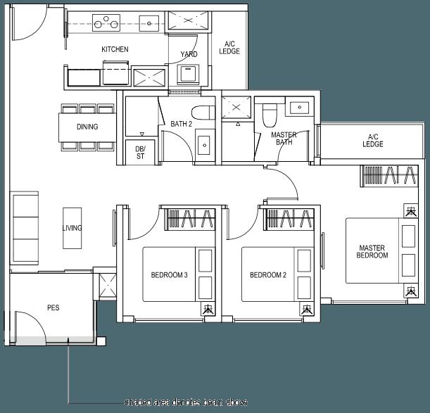 The Brownstone EC - 3 Bedroom B4p1 82 sqm 883 sqft