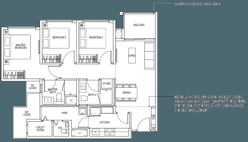 The Brownstone EC Floor Plan - 3 Bedroom Premium B5a 89 sqm 958 sqft B5d 105 sqm 1130 sqft
