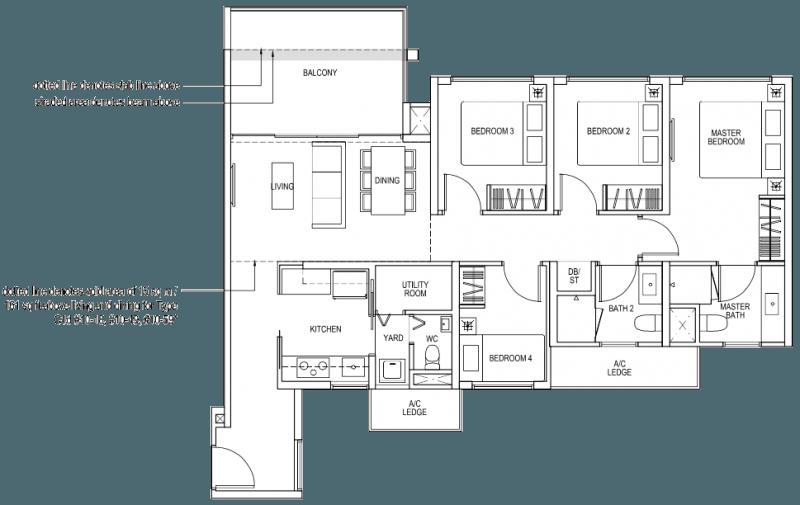 The Brownstone EC Floor Plan - 4 Bedroom C1a 106 sqm 1141 sqft C1d 121 sqm 1302 sqft