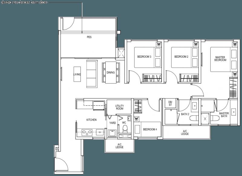 The Brownstone EC - 4 Bedroom C1p 106 sqm 1141 sqft