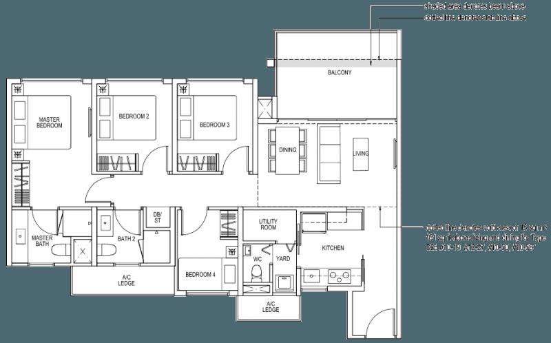 The Brownstone EC Floor Plan - 4 Bedroom C2a 103 sqm 1109 sqft C2d 118 sqm 1270 sqft