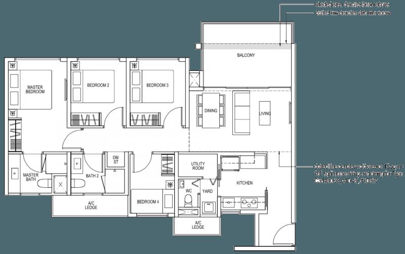 The Brownstone EC Floor Plan - 4 Bedroom C3a 103 sqm 1109 sqft C3d 118 sqm 1270 sqft