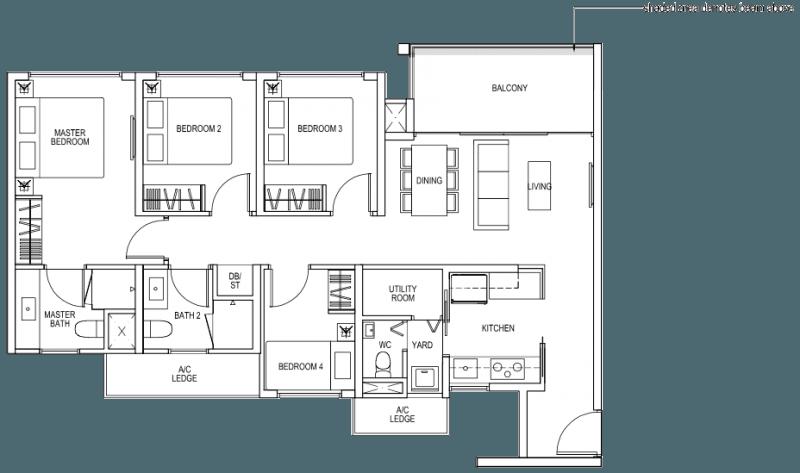 The Brownstone EC - 4 Bedroom C3b 99 sqm 1066 sqft