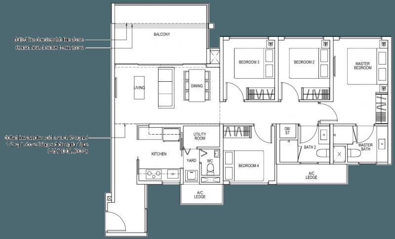 The Brownstone EC - 4 Bedroom C4a 110 sqm 1184 sqft C4d 126 sqm 1356 sqft