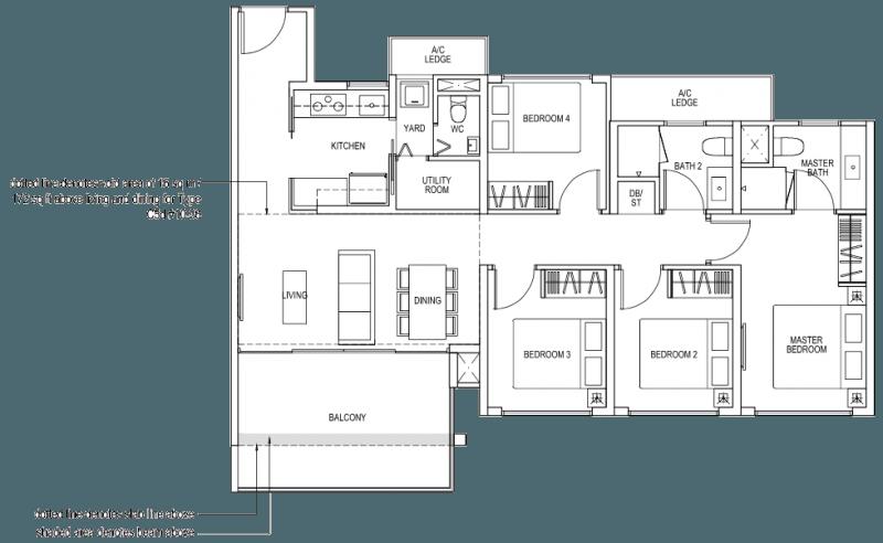 The Brownstone EC Floor Plan - 4 Bedroom C5a 107 sqm 1152 sqft C5d 123 sqm 1324 sqft
