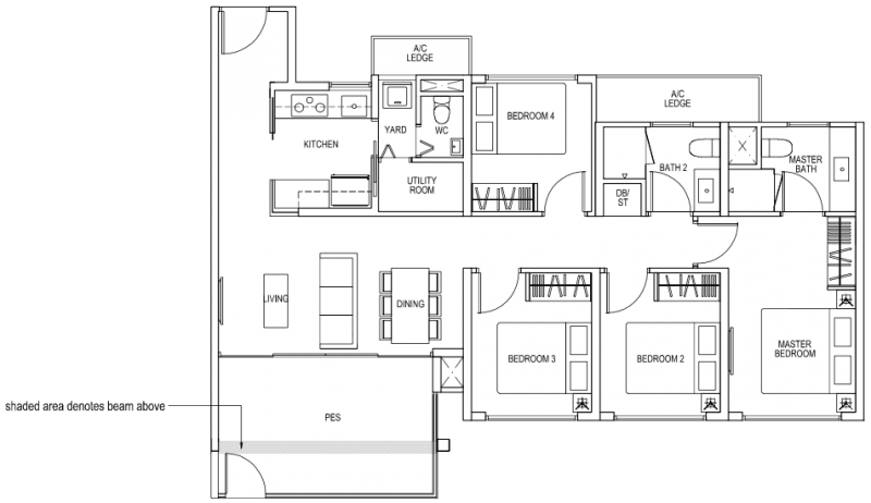 The Brownstone EC - 4 Bedroom C5p 107 sqm 1152 sqft