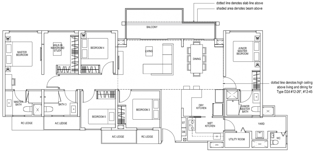 The Brownstone EC - 5 Bedroom D2 155 sqm 1668 sqft D2d 155 sqm 1668 sqft (3.9m Living and Dining)
