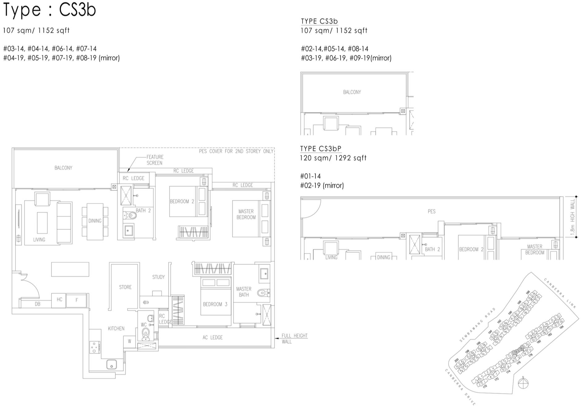 The Visionaire EC Floor Plan - 3 Bedroom Cospace CS3b CS3bP 107 sqm 1152 sqft
