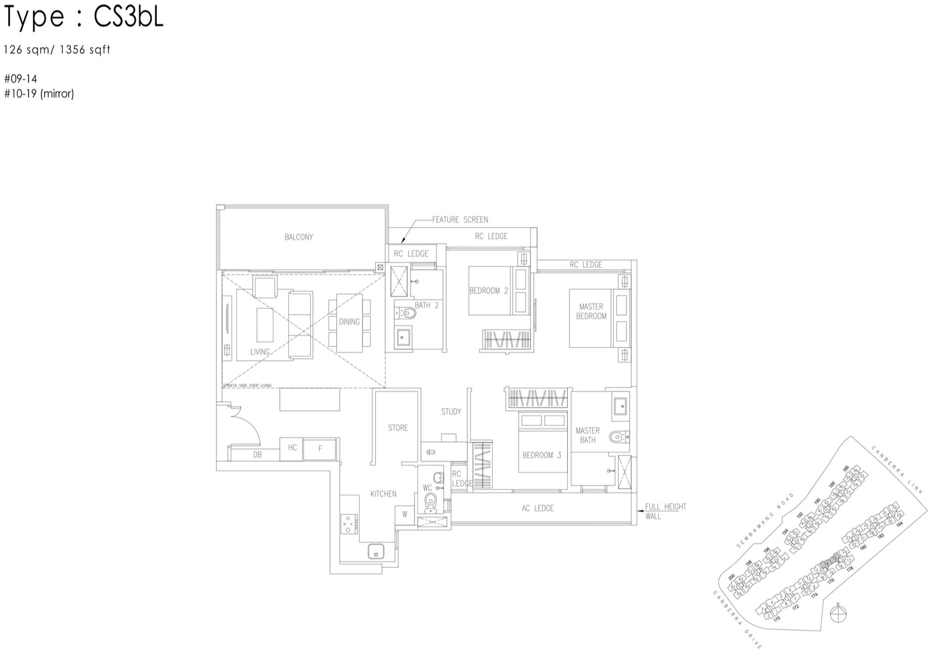 The Visionaire EC Floor Plan - 3 Bedroom Cospace CS3bL 126 sqm 1356 sqft