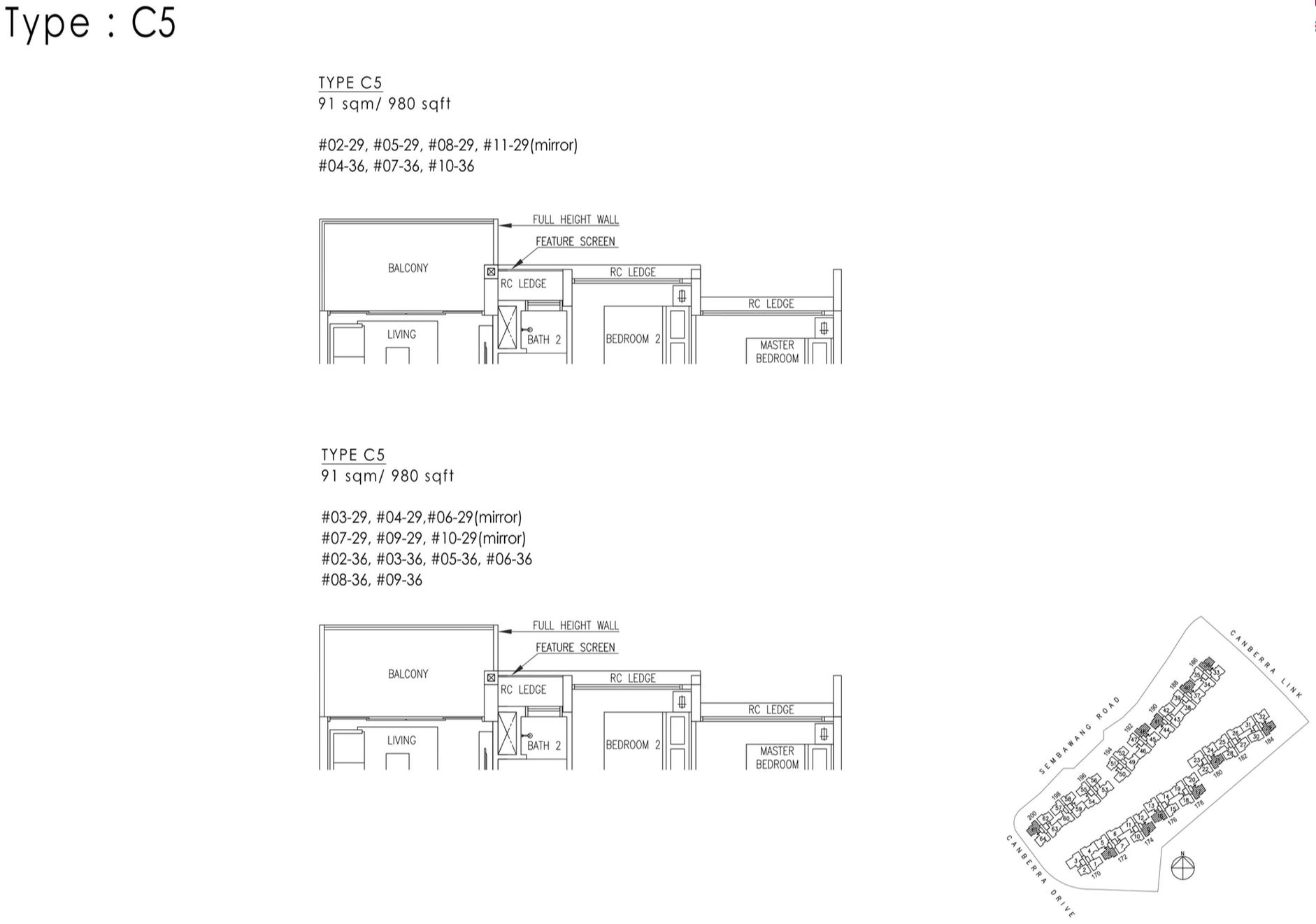The Visionaire EC Floor Plan - 3 Bedroom Premium C5 91 sqm 980 sqft