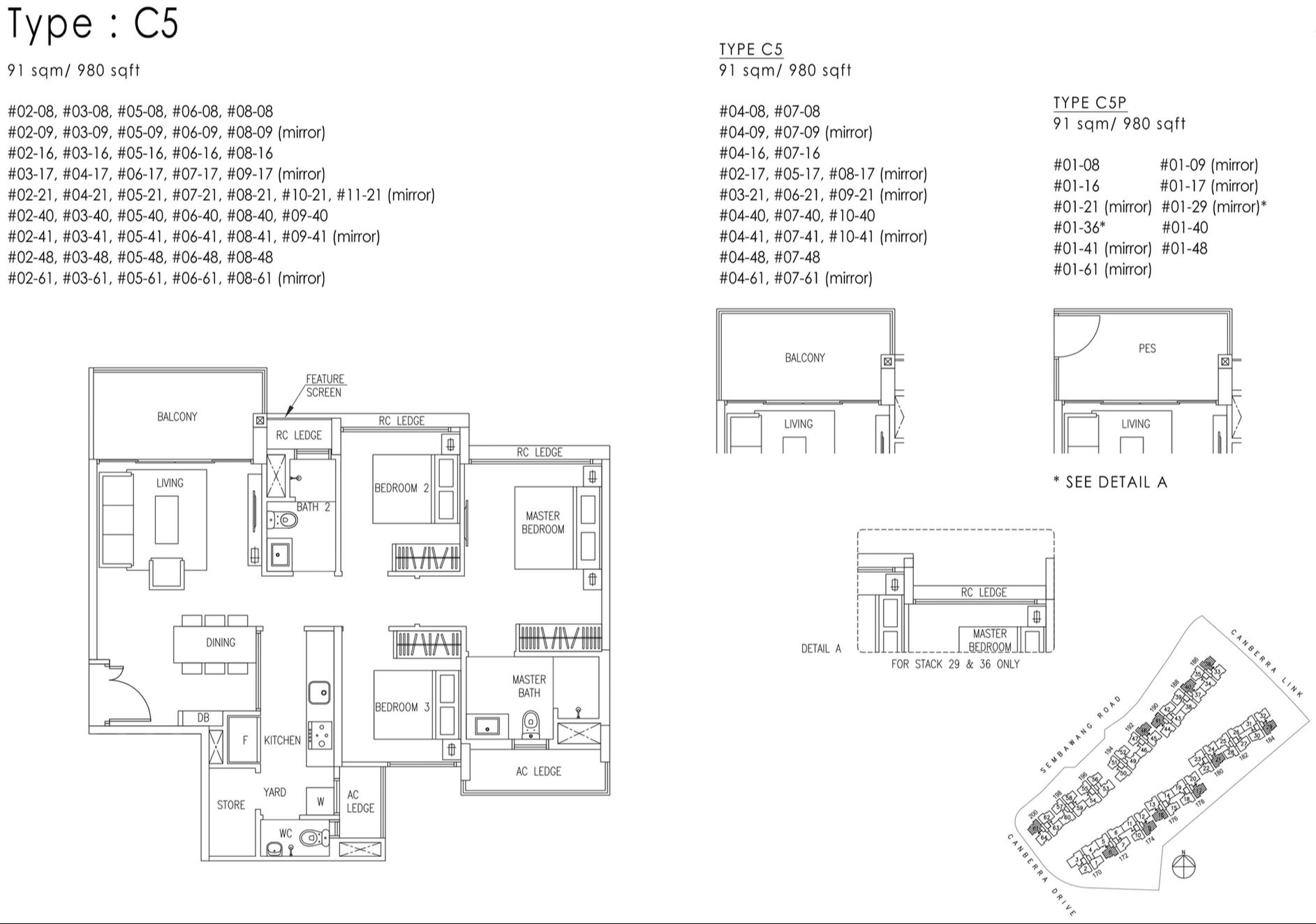 The Visionaire EC Floor Plan - 3 Bedroom Premium C5 C5P 91 sqm 980 sqft