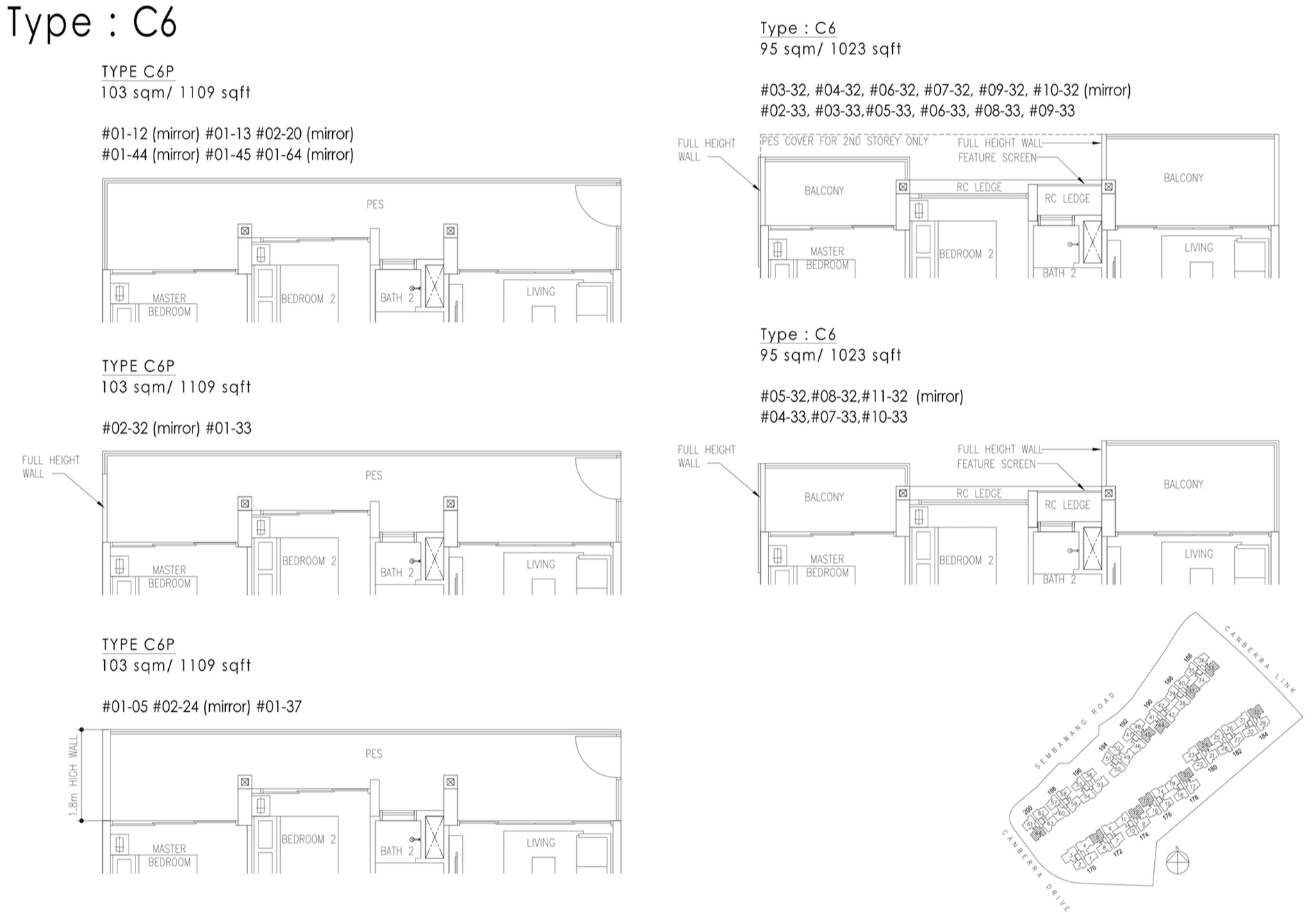The Visionaire EC Floor Plan - 3 Bedroom Premium C6 C6P 95 sqm 1023 sqft