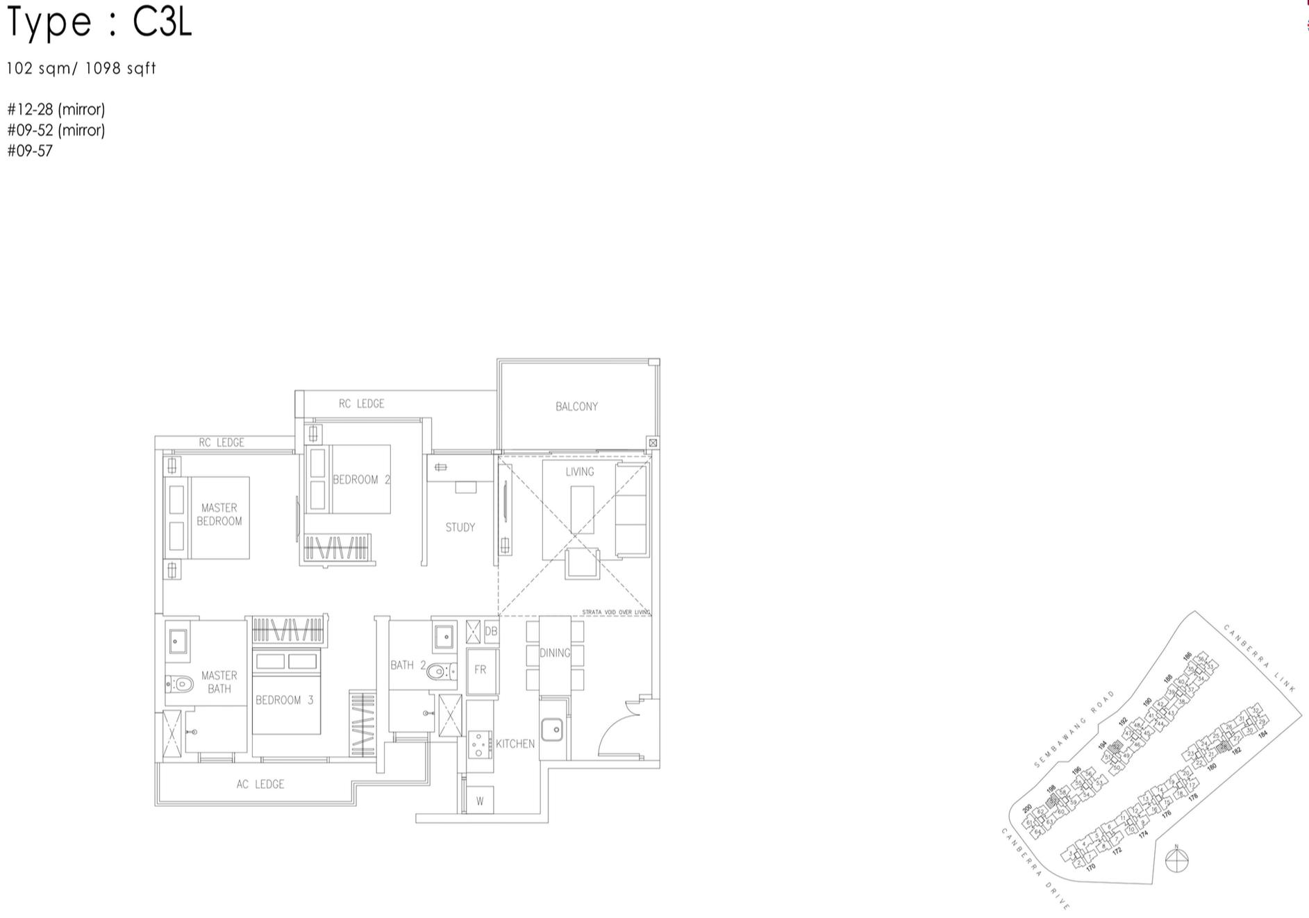 The Visionaire EC Floor Plan - 3 Bedroom+Study C3L 102 sqm 1098 sqft