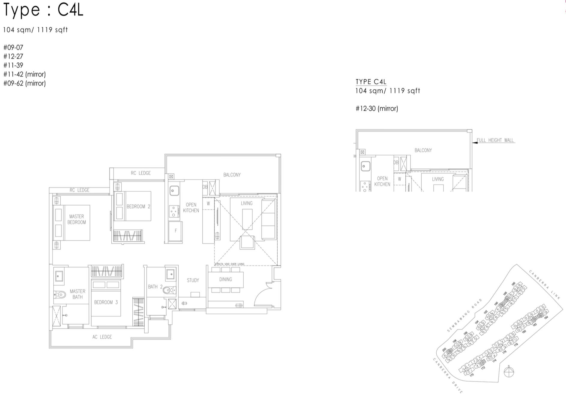 The Visionaire EC Floor Plan - 3 Bedroom+Study C4L 104 sqm 1119 sqft