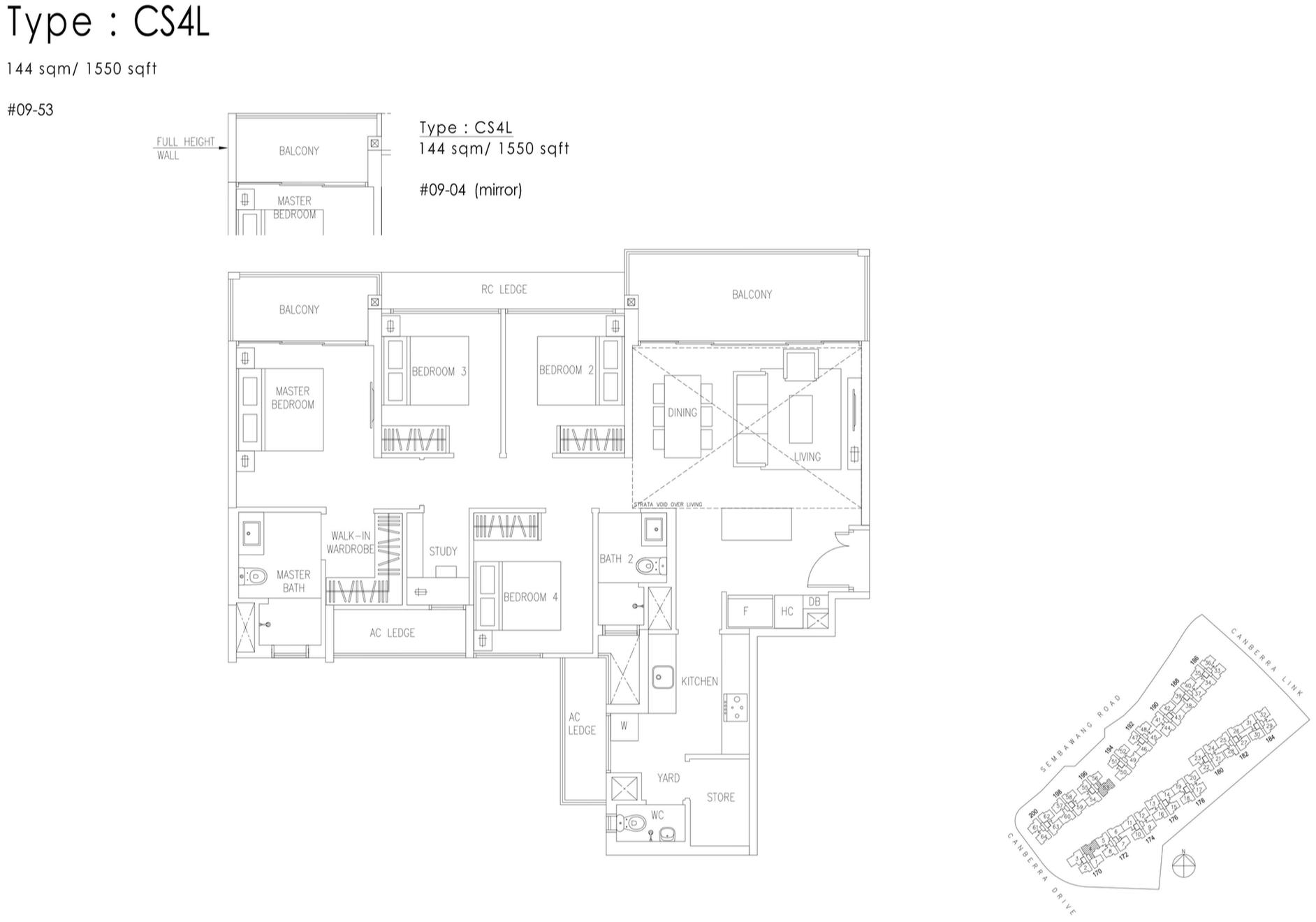 The Visionaire EC Floor Plan - 4 Bedroom Cospace CS4L 144 sqm 1550 sqft