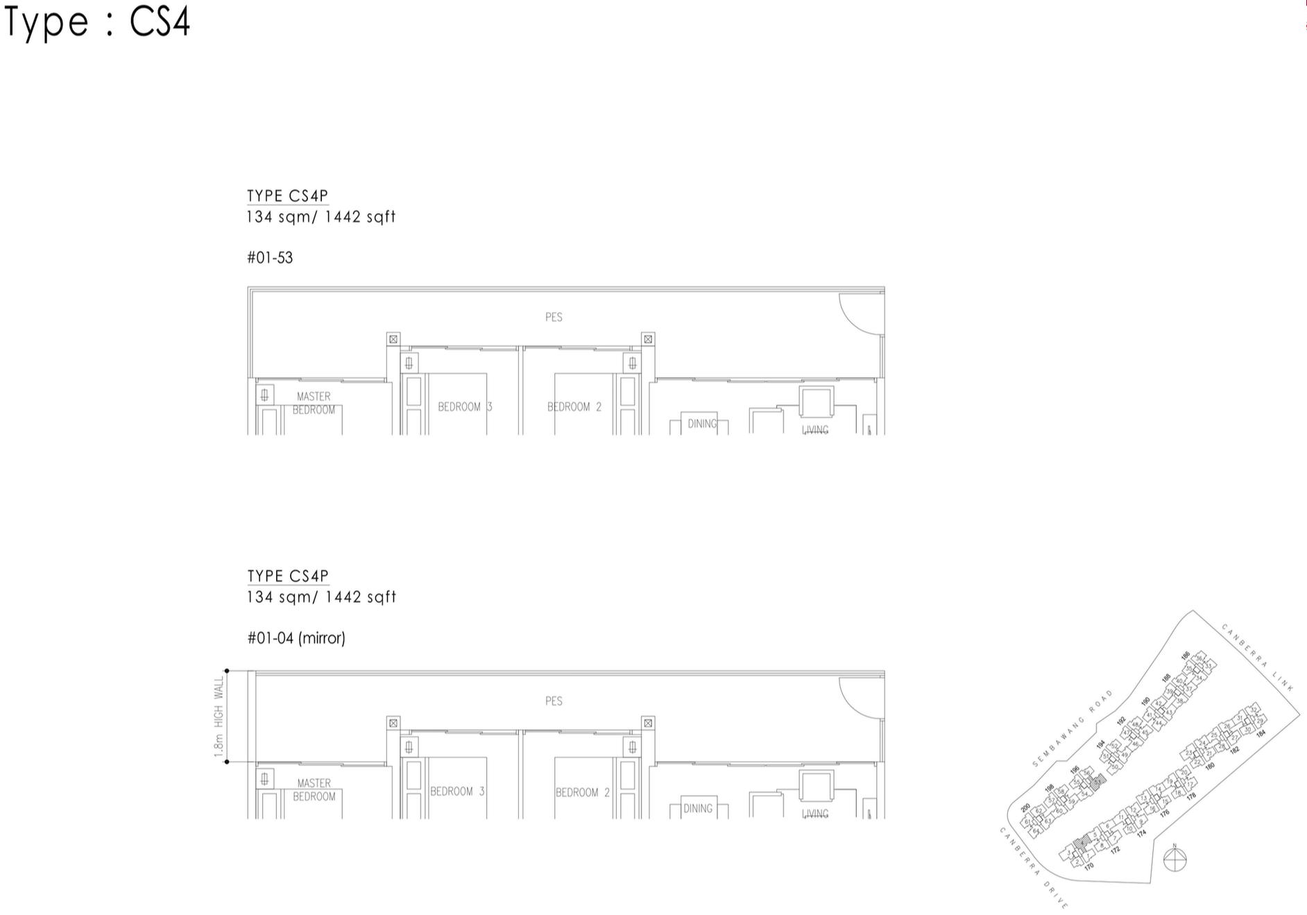 The Visionaire EC Floor Plan - 4 Bedroom Cospace CS4P 134 sqm 1442 sqft