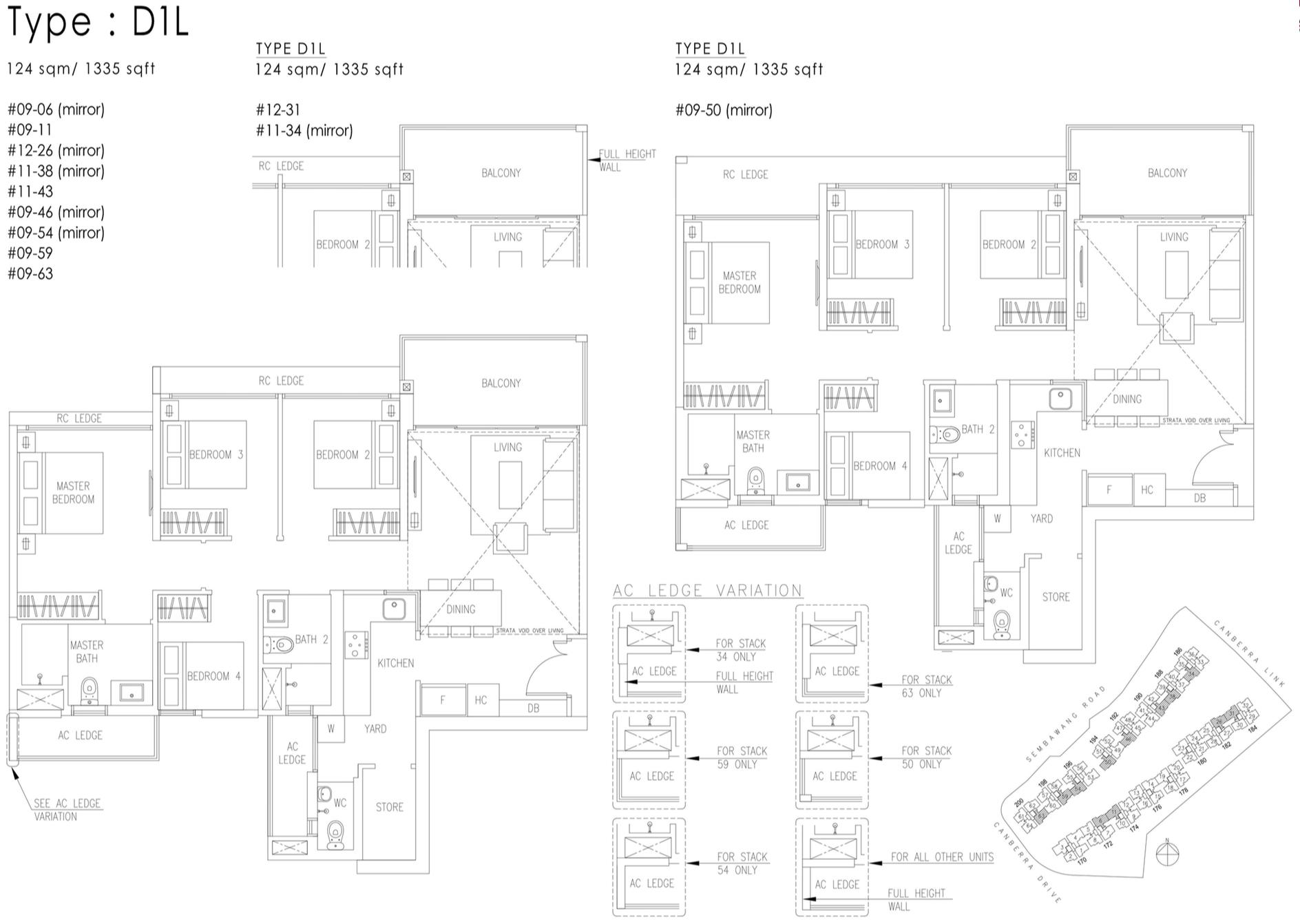 The Visionaire EC Floor Plan - 4 Bedroom D1L 124 sqm 1335 sqft