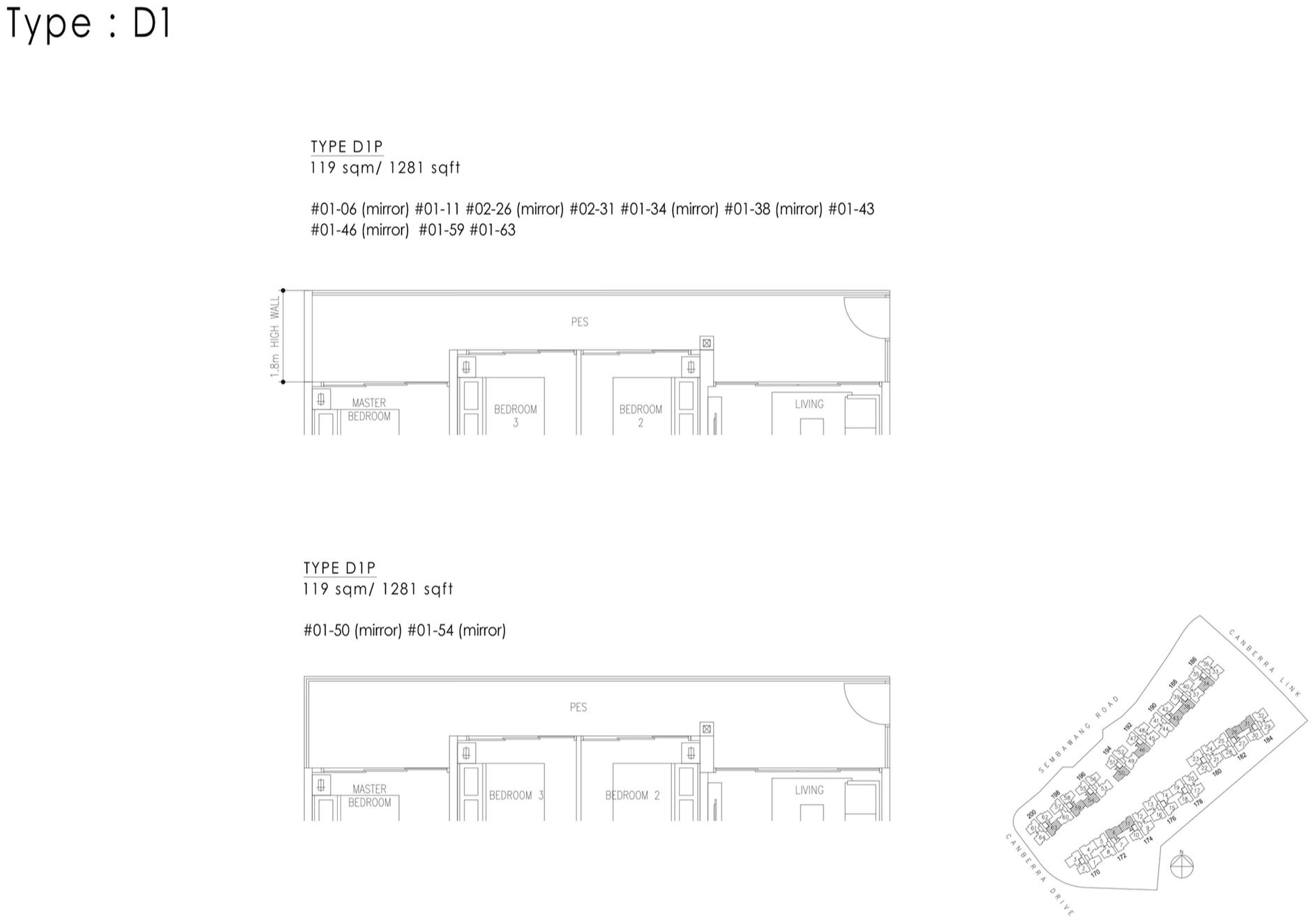 The Visionaire EC Floor Plan - 4 Bedroom D1P 119 sqm 1281 sqft