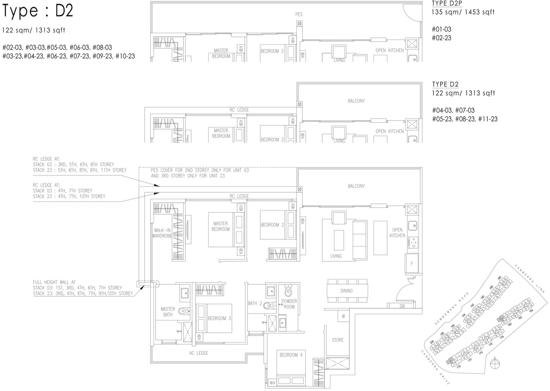 The Visionaire EC Floor Plan - 4 Bedroom D2 D2P 122 sqm 1313 sqft