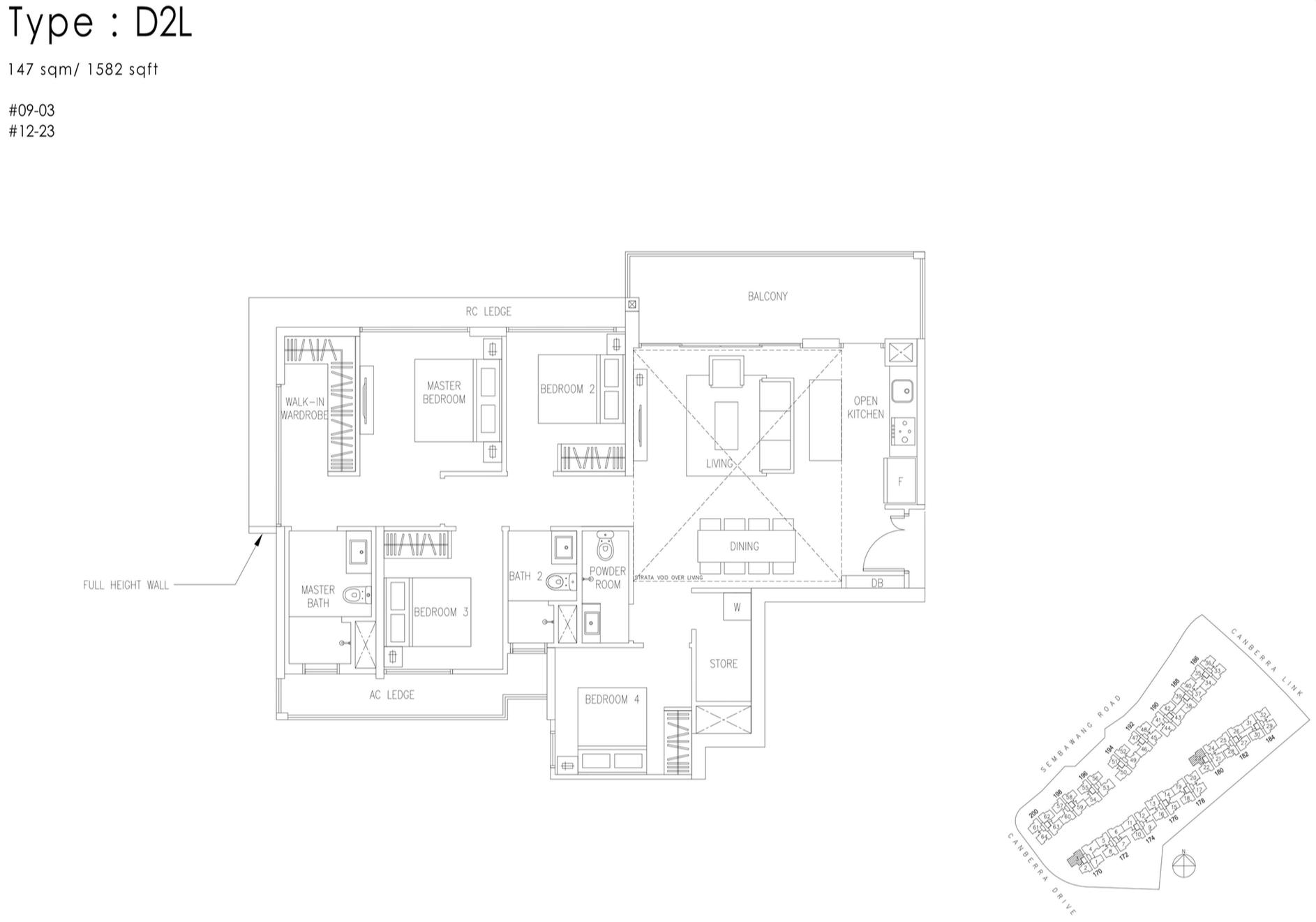The Visionaire EC Floor Plan - 4 Bedroom D2L 147 sqm 1582 sqft