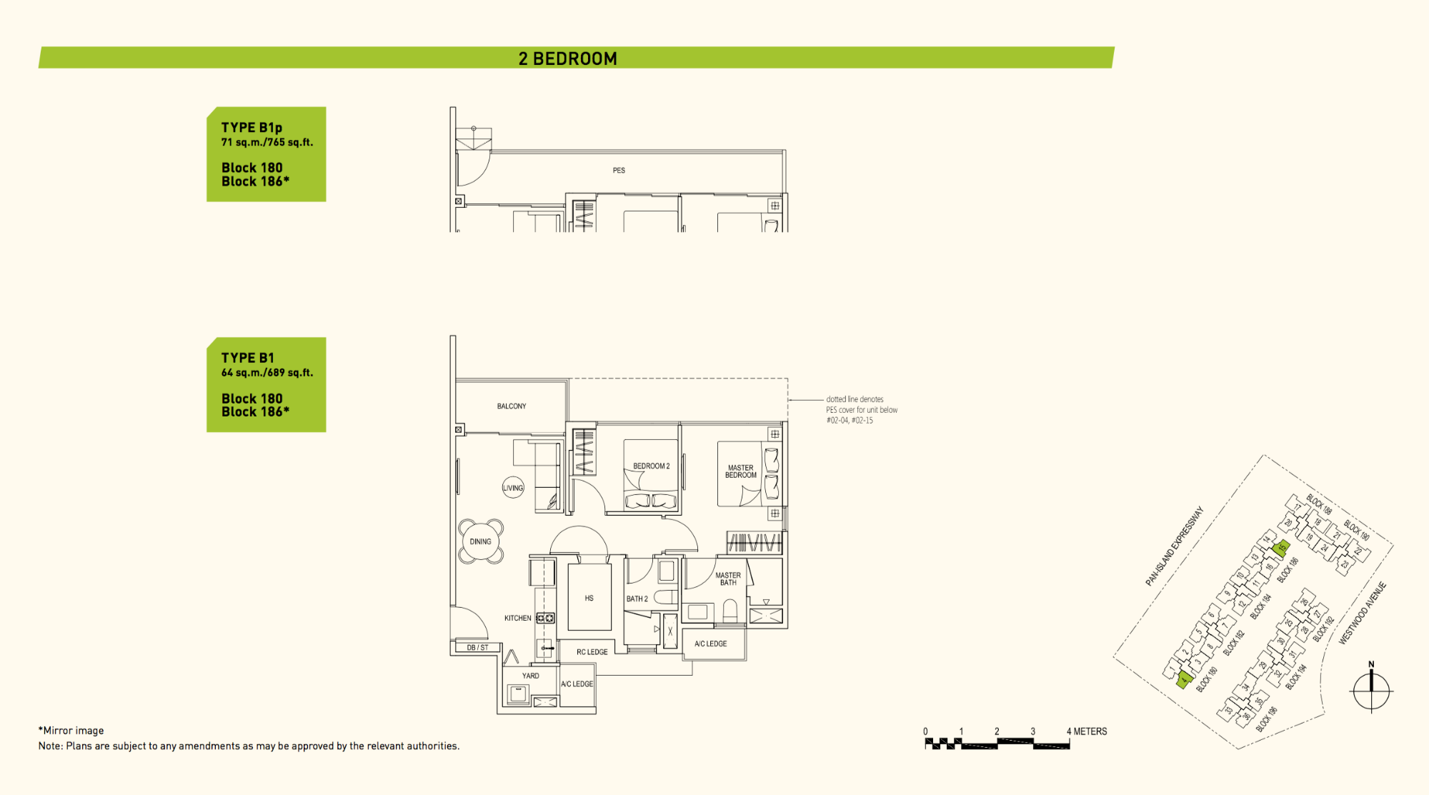 Westwood Residences EC Floor Plan 2 Bedroom B1 64 sqm 689 sqft