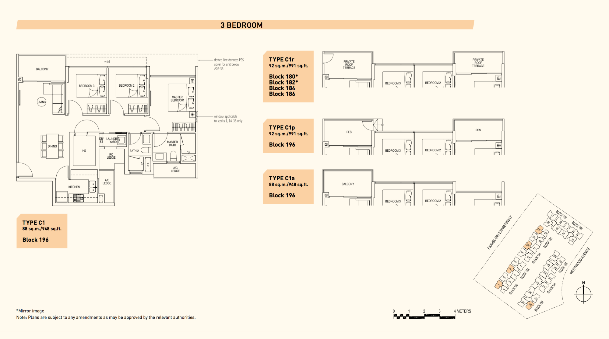 Westwood Residences EC Floor Plan 3 Bedroom C1 88 sqm 948 sqft