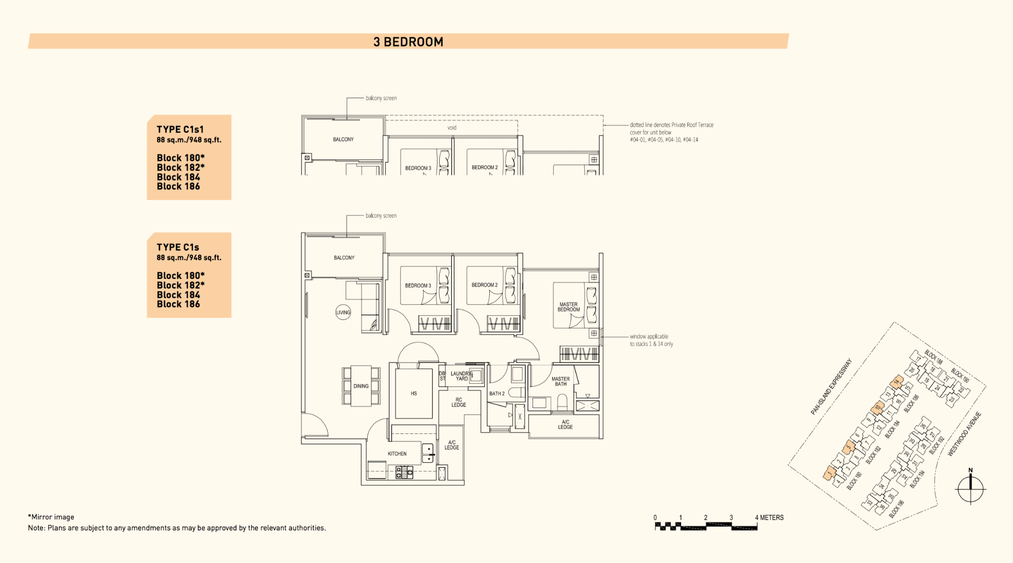 Westwood Residences EC Floor Plan 3 Bedroom C1s 88 sqm 948 sqft