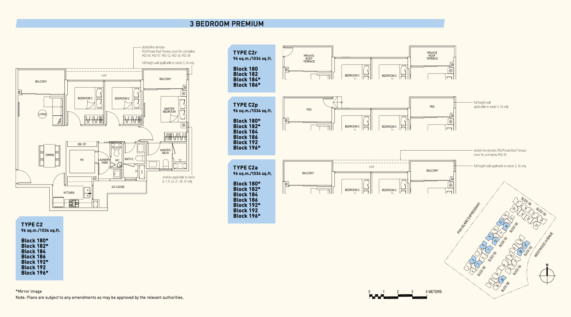 Westwood Residences EC Floor Plan 3 Bedroom Premium C2 96 sqm 1034 sqft