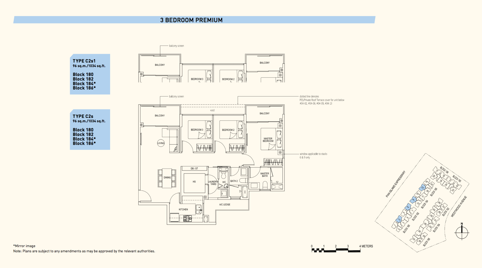 Westwood Residences EC Floor Plan 3 Bedroom Premium C2s 96 sqm 1034 sqft