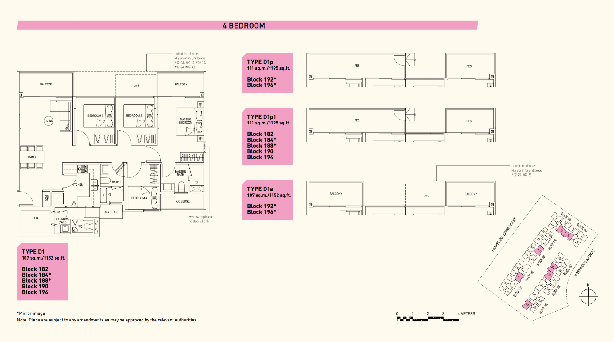 Westwood Residences EC Floor Plan 4 Bedroom D1 107 sqm 1152 sqft